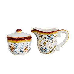 Duomo Blue Scroll Creamer and Sugar Bowl Set