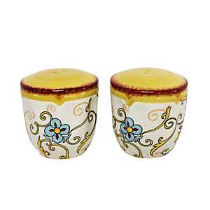 Duomo Blue Scroll Salt and Pepper Shaker Set