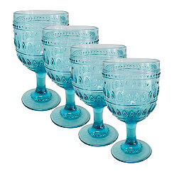 Fez Turquoise Wine Glasses, Set of 4