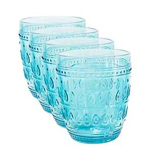 Fez Turquoise Old Fashioned Glasses, Set of 4