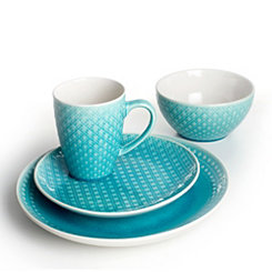 Palma Teal Diamond 16-pc. Dinnerware Set