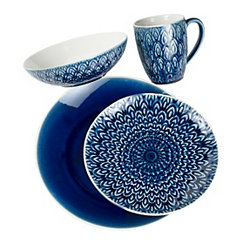 Blue Peacock 16-pc. Dinnerware Set