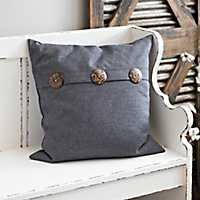 Gray Buttoned Pillow
