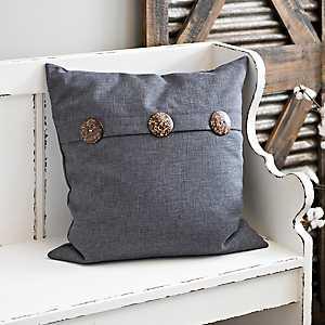 Gray Buttoned Pillow