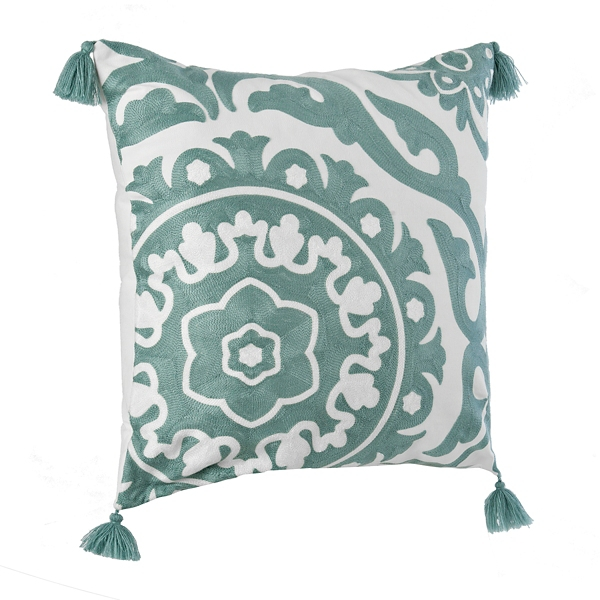 blue suzani embroidered pillow - Toss Pillows