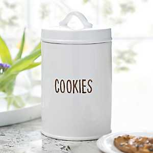White Distressed Label Cookie Jar