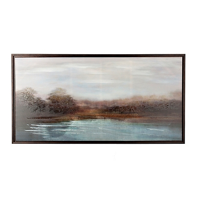 Rust Dotted Stripe Pillow By The River Framed Canvas Art Print
