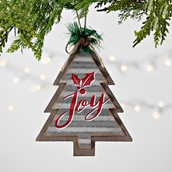 Joy Galvanized Metal Christmas Ornament