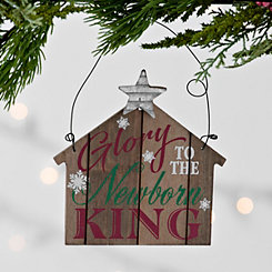 Glory To The Newborn King Wooden Stable Ornament