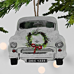 White Vintage Car Christmas Ornament