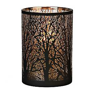 Bronze and Gold Tree Glass Hurricane, 7 in.
