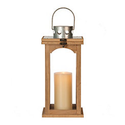 Nora Wood and Galvanized Metal Lantern