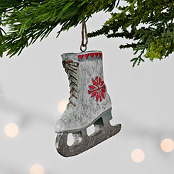 Rustic White Ice Skate Ornament