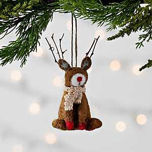 Sitting Reindeer Felt Ornament