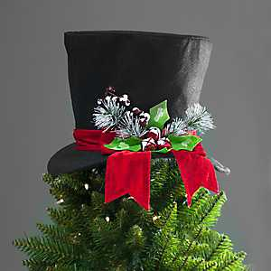 Black Felt Top Hat Tree Topper