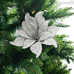 Silver Linen Poinsettia Clip