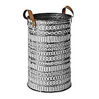 Geometric Sketch Embossed Galvanized Metal Bin