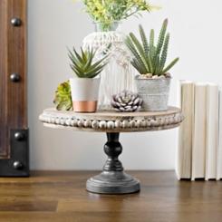 Beaded Wood and Metal Pedestal