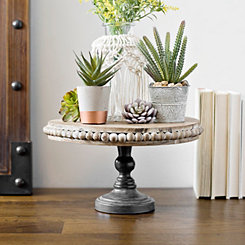Beaded Wood and Metal Pedestal