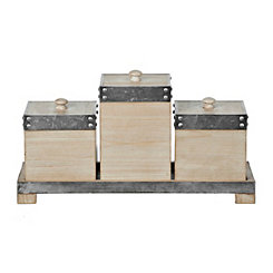Galvanized Metal and Wood Boxes, Set of 3