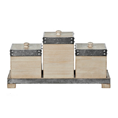 Galvanized Metal and Wood Boxes  Set of 3. Clearance   Kirklands
