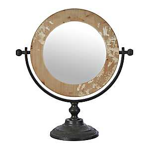 Round Distressed Wood Decorative Table Mirror