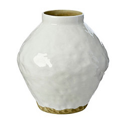 Hammered White Ceramic Vase