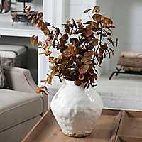 Hammered White Ceramic Vase