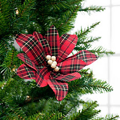 Red Plaid Poinsettia Stem