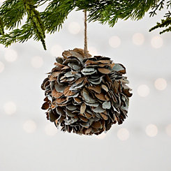 Natural Dried Leaf Ball Christmas Ornament