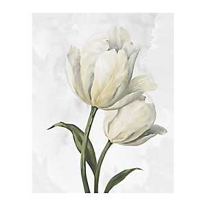 White Tulip Waltz III Canvas Art Print