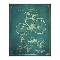 Blue Bicycle Patent II Canvas Art Print