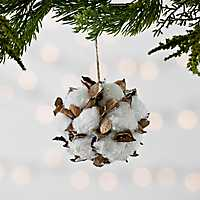 Glitter Cotton Ball and Dried Leaf Ornament