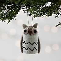 Neutral Felted Owl Christmas Ornament