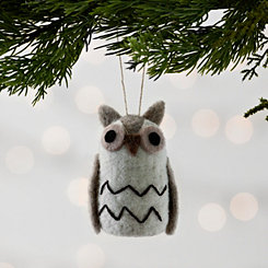 Neutral Felted Owl Christmas Ornament