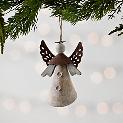 Rustic Wooden Angel with Brown Wings Ornament