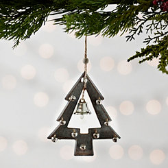 Weathered Wood Bell Tree Christmas Ornament