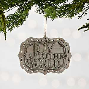 Joy to the World Metal and Wood Plaque Ornament