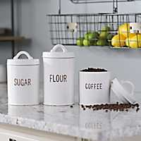 White Distressed Label Canisters, Set of 3