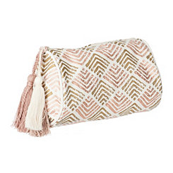 Woven Blush Metallic Cosmetic Bag