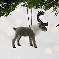 Gray Faux Fur Reindeer Ornament