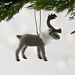 Gray Faux Fur Reindeer Ornament