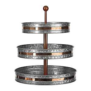 Galvanized and Copper Metal 3-Tier Tray