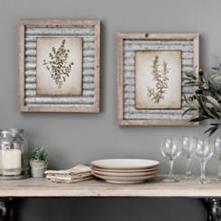 Galvanized Botanicals Framed Art Prints, Set of 2