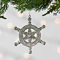 Tan Ship Wheel Resin Ornament