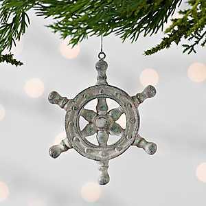 Tan Ship Wheel Resin Ornament