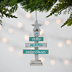 Very Merry Christmas Tree Wood Ornament