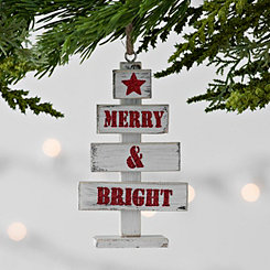 Merry and Bright Tree Wood Ornament