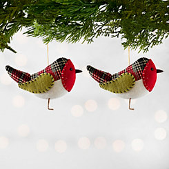 Plaid Red Bird Ornaments, Set of 2
