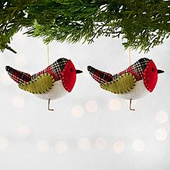 Plaid Red Bird Ornaments, Set of 2
